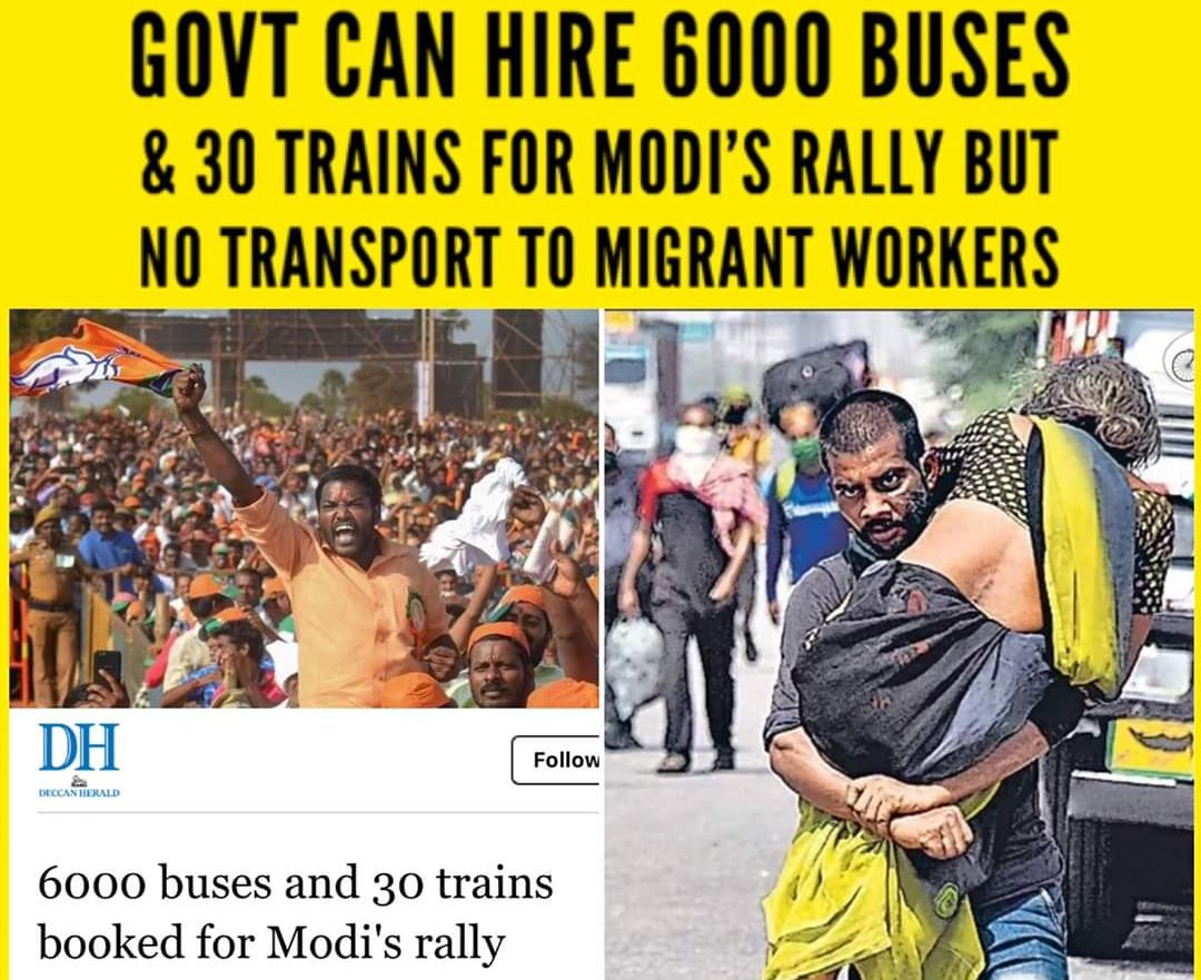 #BJP government can Hire 6000 buses and 30 Trains  for Modi's Rally  But No Transportation for Migrant Workers  #ModiMadeDisaster #ShamelessBJPpic.twitter.com/pDh8LdMgl1