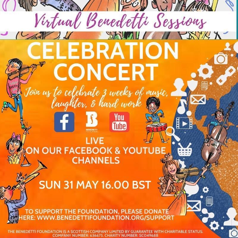 Please join us for the Virtual Sessions Celebration Concert on Sun, 4pm BST - YouTube & Facebook - a coming together of the global music community & a showcase of the participants hard work, commitment & enthusiasm over the past 3 wks. We hope to see you there #benedettisessions