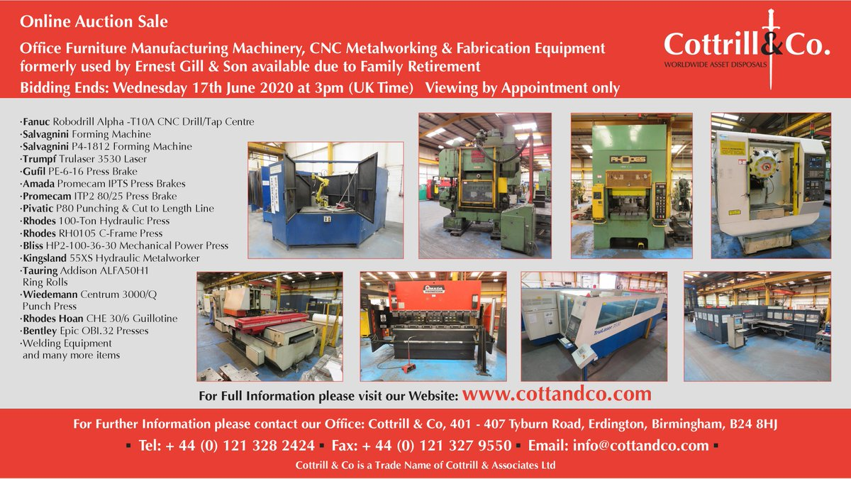📆 Online #Auction Sale - 17 June 2020 - Office #Furniture #Manufacturing Machinery, #CNC #Metalworking & #Fabrication Equipment formerly used by Ernest Gill & Son #UKmfg #EngineeringUK #usedmachines #ManufacturingUK #manufacturing #engineering  Link: