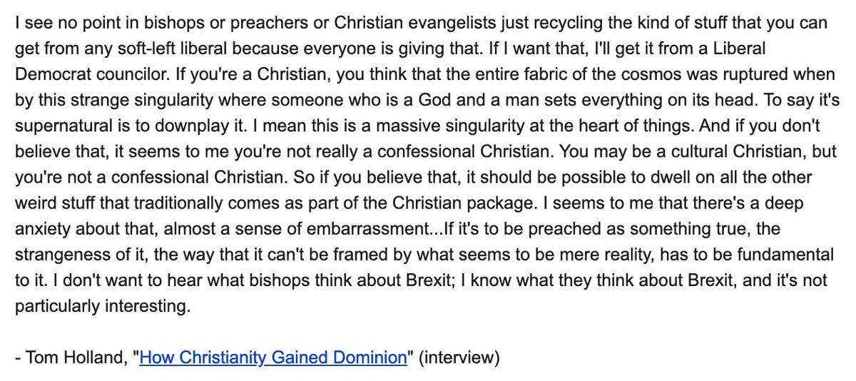 """Seems apropos from @holland_tom regarding what is so banal about CoE Bishops commenting on Dominic Cummings.  """"I see no point in bishops or preachers or Christian evangelists just recycling the kind of stuff that you can get from any soft-left liberal..."""""""