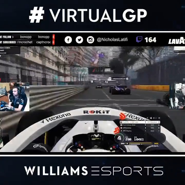 The opening lap in Monaco was as expected: Carnage 😂🙈  #VirtualGP #WilliamsEsports #WeAreWilliams 💙