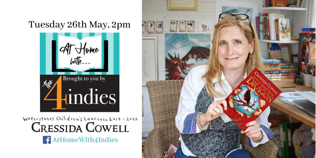 @CressidaCowellwill be LIVE with @homewith4indiesat 2pm today! Tune in on Facebook at fal.cn/38hxW