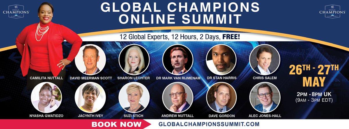 🔥😃 IT'S TODAY!!! Join CEOs, Start Ups as well as Seasoned Entrepreneurs @sharonlechter @dmscott @Ngwatidzo @DrStanHarris @JacynthIvey @SuziStich @davegordonwrite  @eventofchampion Global Champions Summit! Register NOW 👉 https://t.co/wkSFw6SBhZ  #onlinelearning https://t.co/kgWxPTRIqS