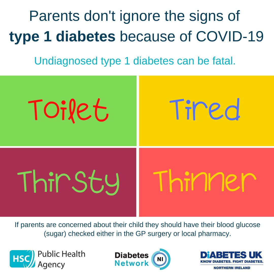 Parents don't ignore signs of #type1diabetes during COVID-19 pandemic. Children can develop #type1diabetes at any time – if symptoms develop, get your child's blood sugar checked that day. For further information see pha.site/type1 @DiabetesUKNI