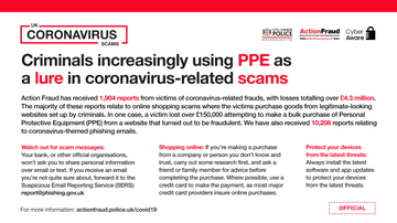 ⚠️CORONAVIRUS SCAMS: @actionfrauduk are receiving an increasing number of reports about people losing money to fraudulent websites selling PPE. One victim lost over £150,000. Check out their tips on how to shop online safely: actionfraud.police.uk/shoponlinesafe… #CoronavirusFrauds