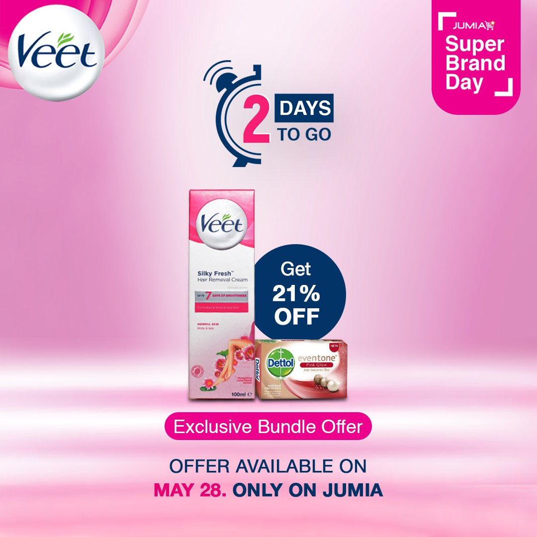 2 more days until you can shop the Jumia Super Brand Day sale. Are you ready?  Get 21% off this exclusive bundle offer. Only available on May 28.   #JustVeetIt #JumiaSuperBrandDay https://t.co/e9hsf9ltXV