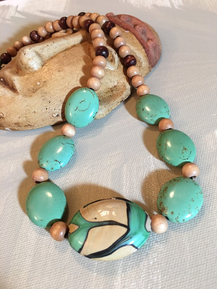 Chunky Boho Necklace, Green Turquoise Magnesite stone, large Porcelain pendant, art nouveau, wood, hippie, statement necklace, ceramic beads  #Etsyjewelry #Bohochic #Handmadejewelry #Chunkyboho #ChunkyBoho