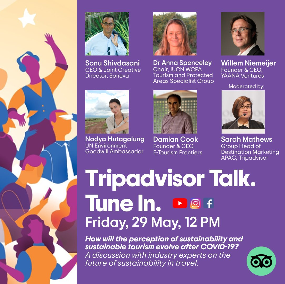 We know people will travel again. So let's talk about how, when, and where.  Insights and thoughts on how the perception of sustainability and sustainable tourism will evolve after COVID-19.  Tune in for TripAdvisor Talk on Friday, 12pm SGT.  @TripAdvisor @soneva @IUCN https://t.co/NBR7Zp0wWI