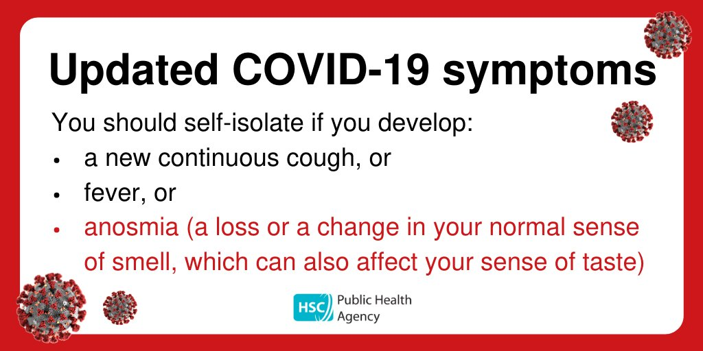 *CORONAVIRUS SYMPTOMS* All individuals should self-isolate if they develop a new continuous cough or fever or anosmia (a loss or a change in your normal sense of smell, which can also affect your sense of taste). Find out more at pha.site/coronavirus #COVID19