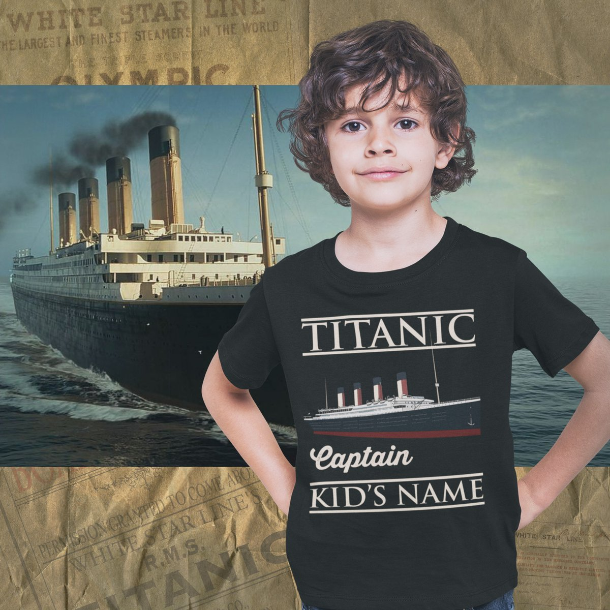 Excited to share the latest addition to my #etsy shop: Captain Titanic custom name shirt, handmade t shirt - personalizer reusable Titanic gift for boy 6 8 years old  #black #blue #streetwear #titaniccustomshirt #titaniccustomname #titanic