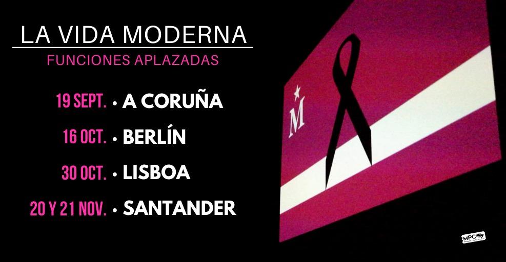 """La gira de """"La @vidamoderna Live Show"""" queda aplazada a estas fechas.  En todos los casos las entradas adquiridas sirven para las nuevas fechas. También podéis solicitar la devolución de estas.  Más info sobre cada show: https://t.co/yzb52QODOd https://t.co/ZeE6oJvErz"""