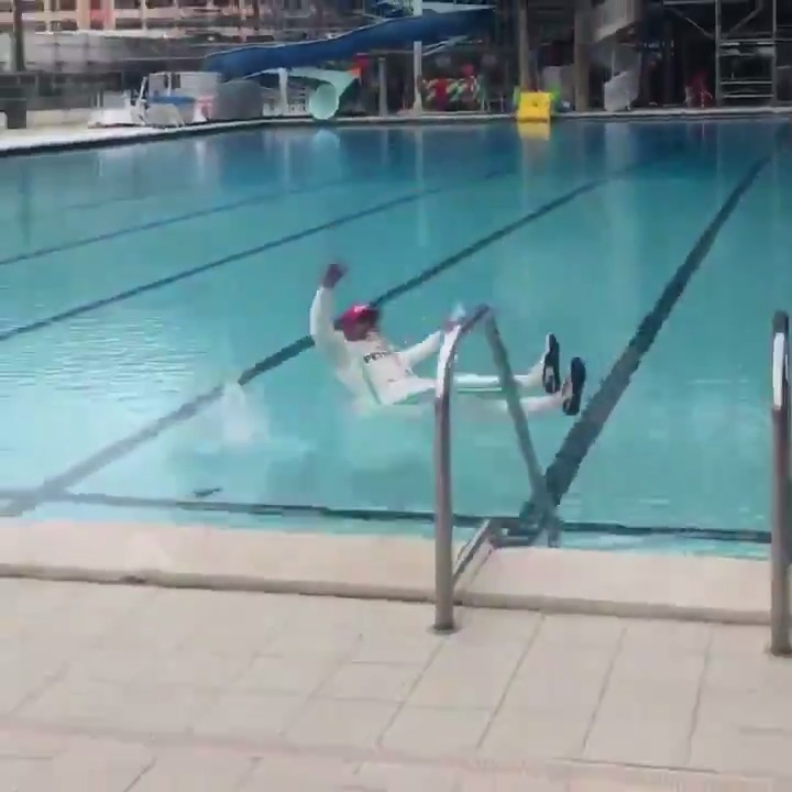 Have you even won the #MonacoGP if you don't take a dive into a swimming pool afterwards...?  #OnThisDay @LewisHamilton