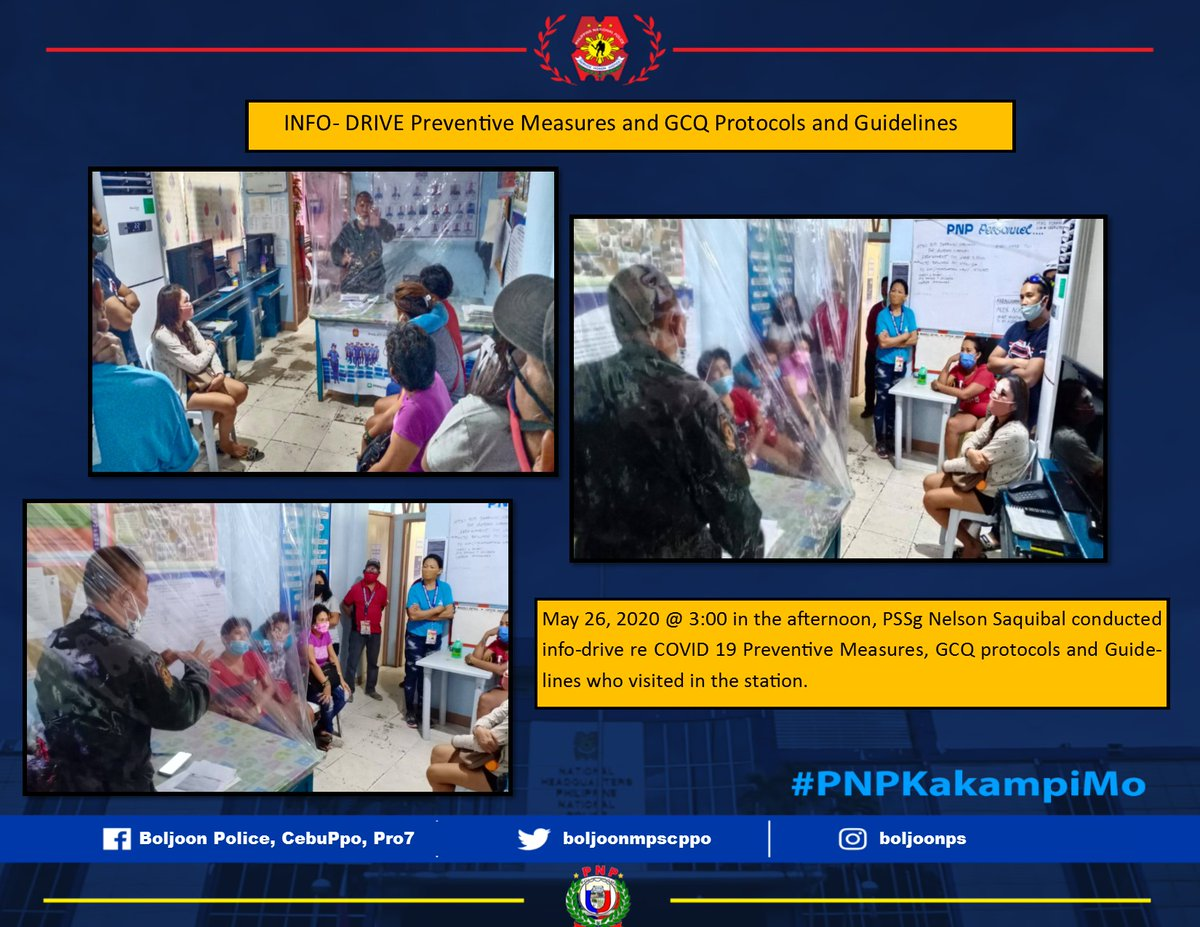 INFO- DRIVE on Preventive Measures and GCQ Protocols and Guidelines  #TeamPNP #PNPKaubanMoBatokCOVID19 #KAPWAKOSAGOTKO #StayHomeSaveLives  @CppoWcpd @rpcrd7pnp @RDPRO7 @pro7official @CebuProvincePNP @pnpdpcrpic.twitter.com/5gOX7x7xNG