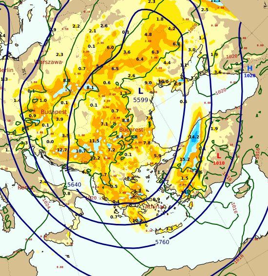 Θα διατηρηθεί το εκτεταμένο ανώτερο χαμηλό στα 500 hPa πάνω από την Ανατολική Ευρώπη, τα Βόρεια Βαλκάνια και την χώρα μας προκαλώντας βροχές και καταιγίδες . Βαθμιαία υποχώρηση της αστάθειας απο βδομάδα σύμφωνα με τις προγνώσεις της @EMY_HNMS @EmyEmk hnms.gr/emy/el/forecas…