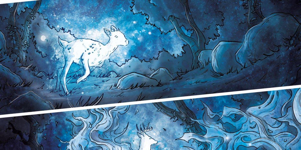 Panel snippet.  #comics #comicbooks #ghost #spirit #deer #stag #ink #watercolour #spooky #horror #blue #artist #freelancer