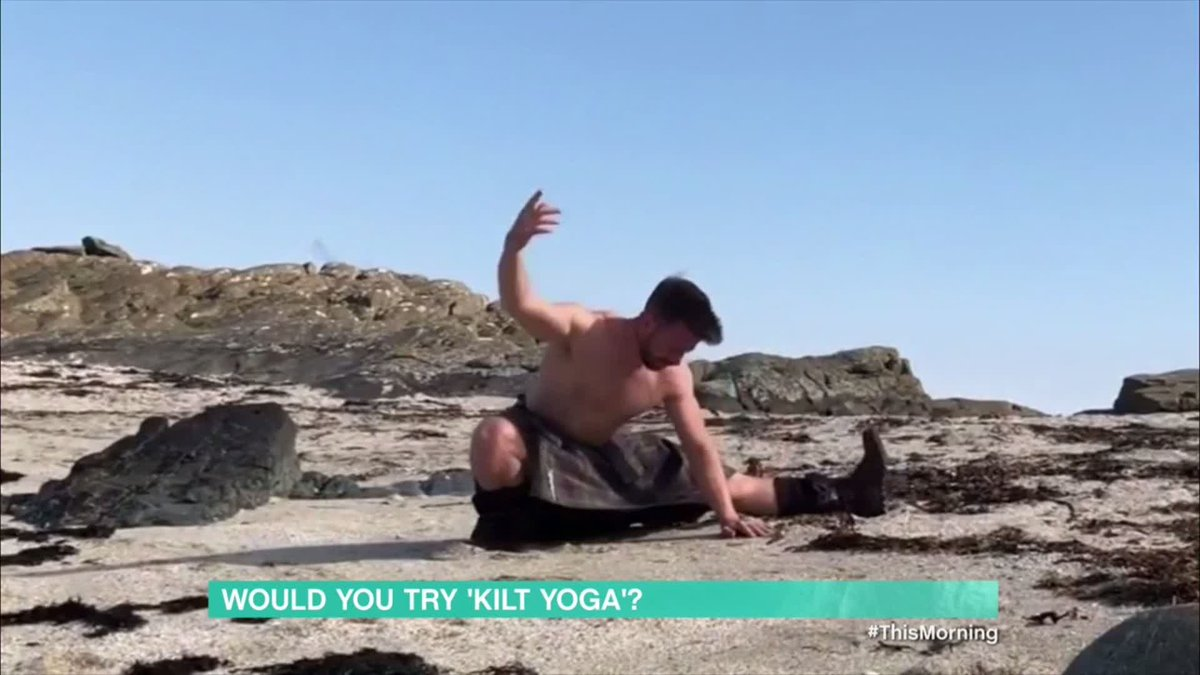 Thats one way to panic Eamonn and Ruth! 🙊 Tune in to This Morning now to see Finlay do some kilt yoga, and hopefully not flash! Watch here 👉 bit.ly/3f50AZ4 #ThisMorning
