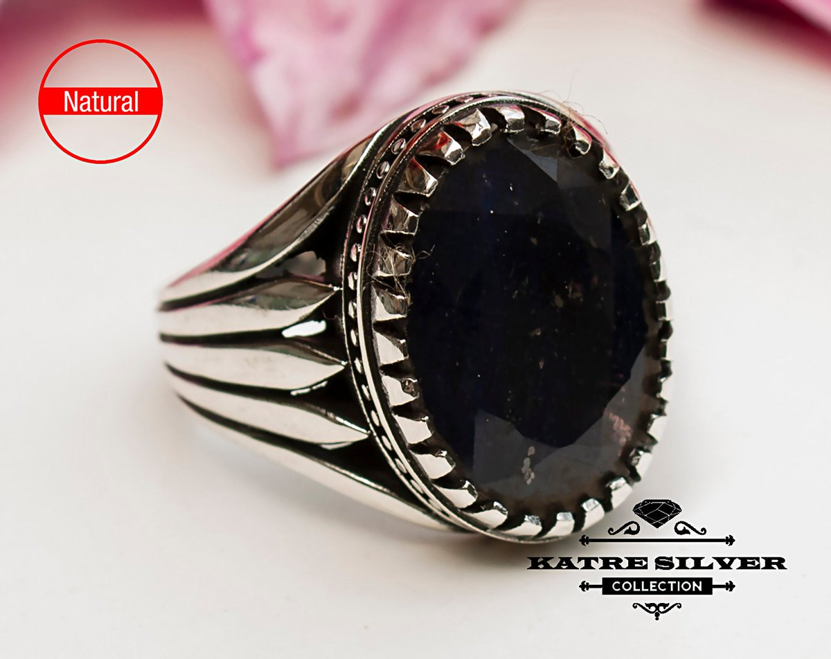 Excited to share the latest addition to my #etsy shop: Unique Mens Ring Sapphire Ring Sterling Silver Boho Jewelry Handcrafted Silver Rings Turkish Ring Authentic Piece of Mens Silver Jewelry  #silver #oval #yes #sapphire #blue #men #uniquemensri