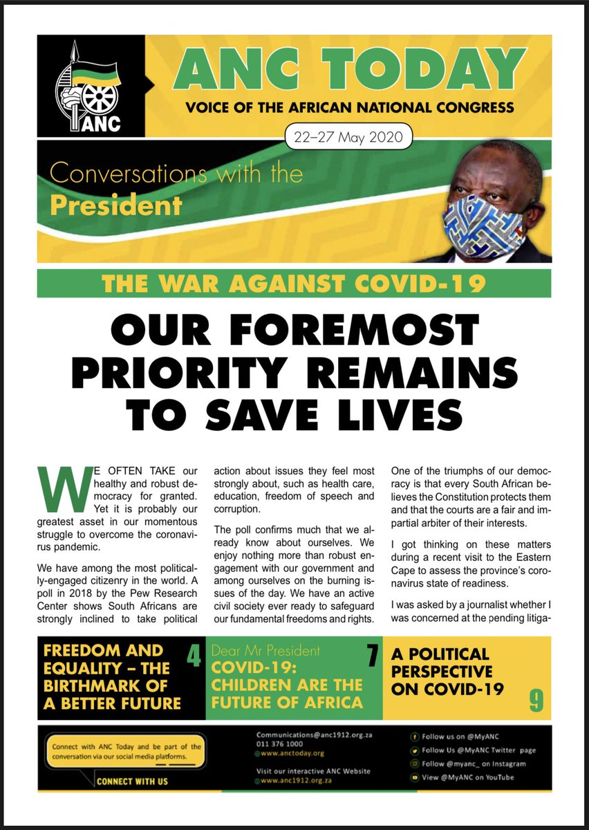 ANC TODAY  Voice of the African National Congress 22- 27 May 2020  -Conversations with the President -  #CoronavirusInSA and please #StayAtHome              #ProtectYourself  #DefendEachother #LetsDoItTogether #FlattenTheCurve https://t.co/5UAlUhG4Gi