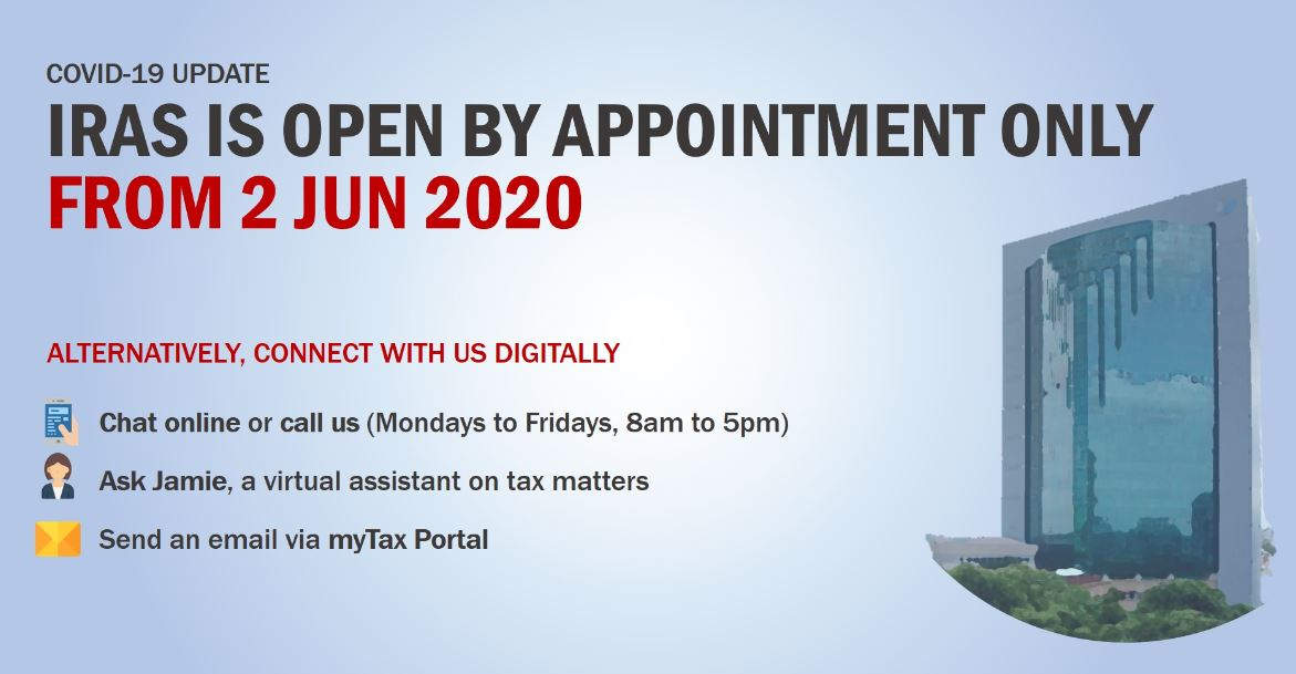 With the Circuit Breaker ending on 1 Jun 2020, IRAS will be reopening its Taxpayer and Business Service Centre at Revenue House from 2 Jun 2020. Visits will be strictly by appointment only. Do consider connecting with us digitally instead. 📲 More at https://t.co/WAnyESYDco https://t.co/8pbijNpfLC