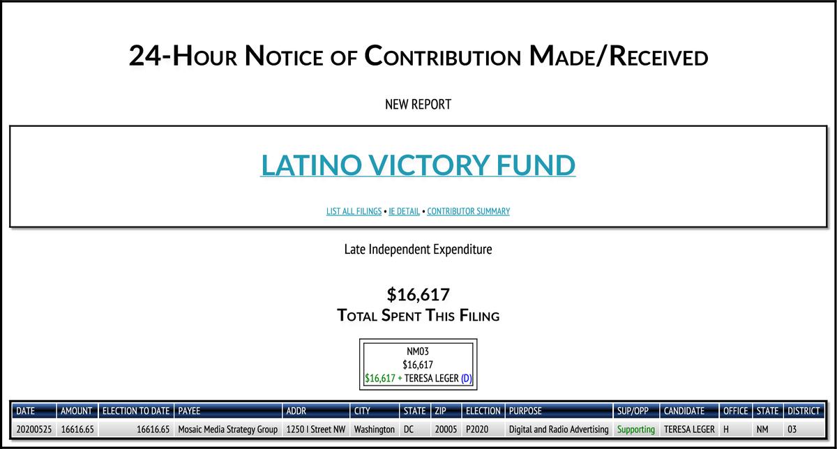 NEW FEC F24 LATINO VICTORY FUND $16,617-> #NM03 https://t.co/XQxMRE8q4M https://t.co/tquFD9kIsU