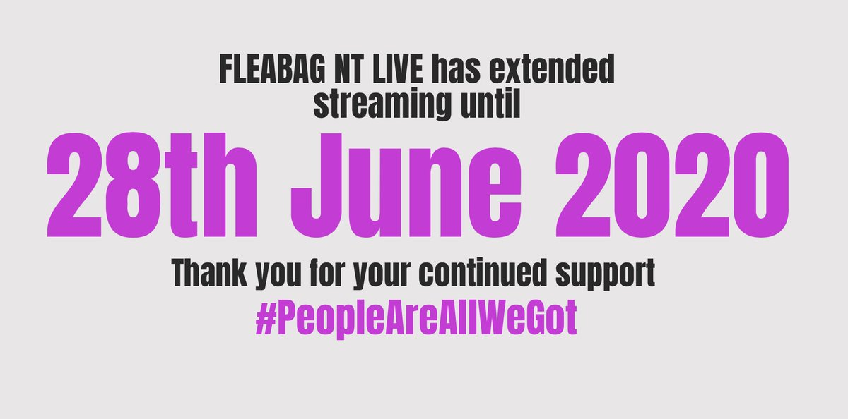 🌟GOOD NEWS🌟You can now stream FLEABAG @NTLive until 28 June and help us to continue to raise vital funds for @NHSCharities @NatEmergTrust @ActingforOthers @BCEFA and the #FleabagSupportFund ❤️ #PeopleAreAllWeGot