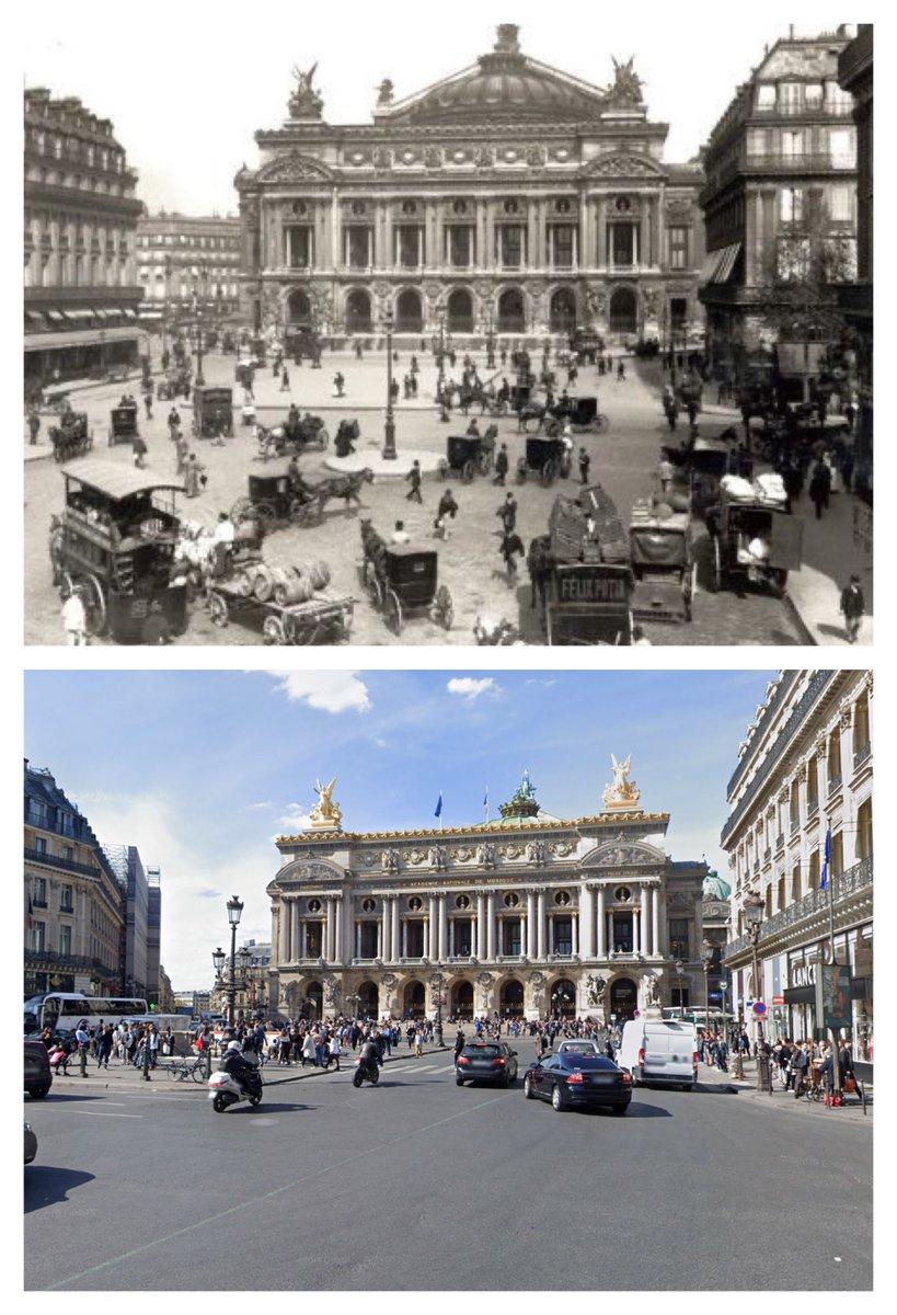 Place de l'Opéra, Paris, 1890s and today. Thanks to @ParisAMDParis for historic image. #paris #thenandnow #avantetapres #voyagerdansletemps #history #histoire #ParisJeTaime #ParisMonamour<br>http://pic.twitter.com/foHeELIG6d