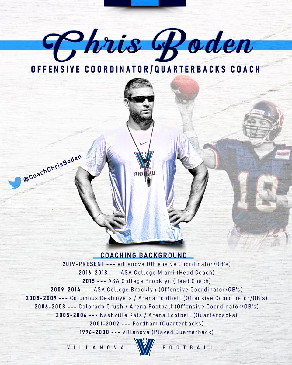 The QUARTERBACKS are led by Chris Boden! Coach Boden is entering his 2nd year as the OC for @NovaFootball! But he also used to sling it around for the Cats' back in the day! He was 25-10 as a starter and holds more records then you can count!  Follow @CoachChrisBoden! #TapTheRockpic.twitter.com/9d6iaoSmVo