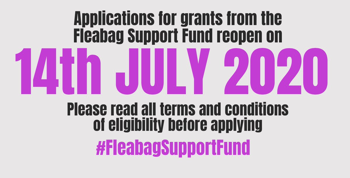 🌟BIG NEWS🌟 #FleabagSupportFund will reopen for grant applications on 14 July in partnership with @theRTF1839. Do you love theatre and want to help the people who bring it to you? Please spread the word. #PeopleAreAllWeGot
