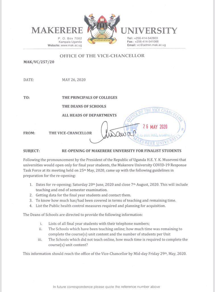 .@MakerereU to re-open on Saturday, 20th June 2020. Details 👇 #UBCNews