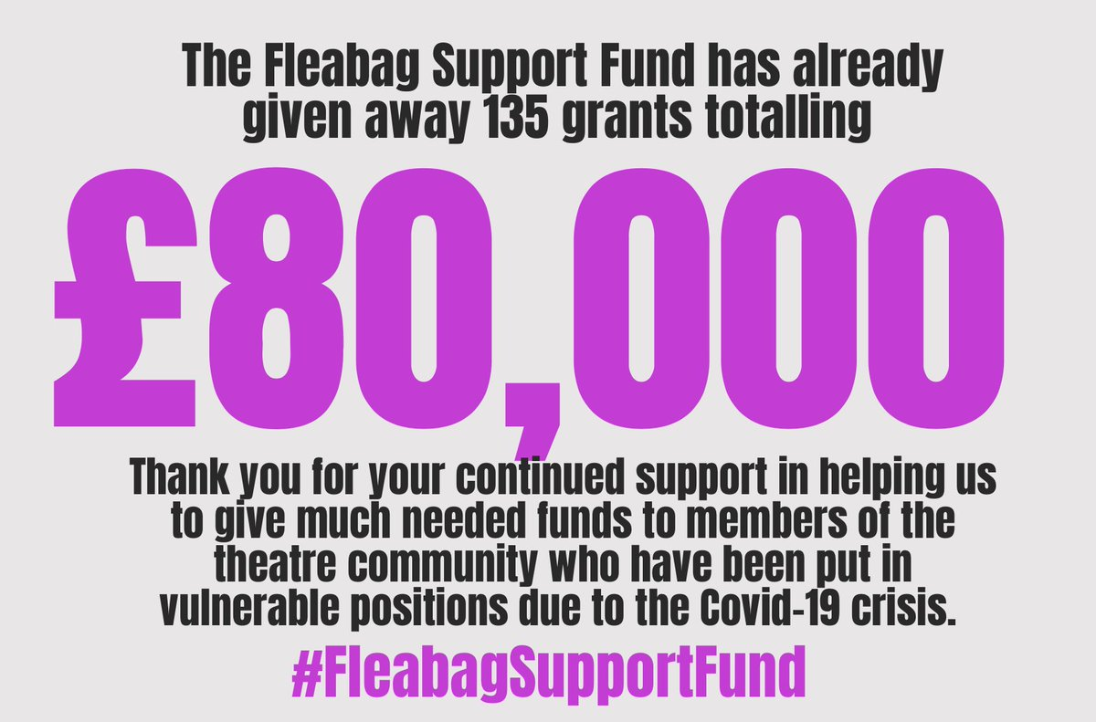 THRILLED that with @theRTF1839 the #fleabagsupportfund has already been able to give out over £80,000 in grants to 135 applicants. Thank you to everyone who has streamed and donated so far❤️ #fleabagforcharity