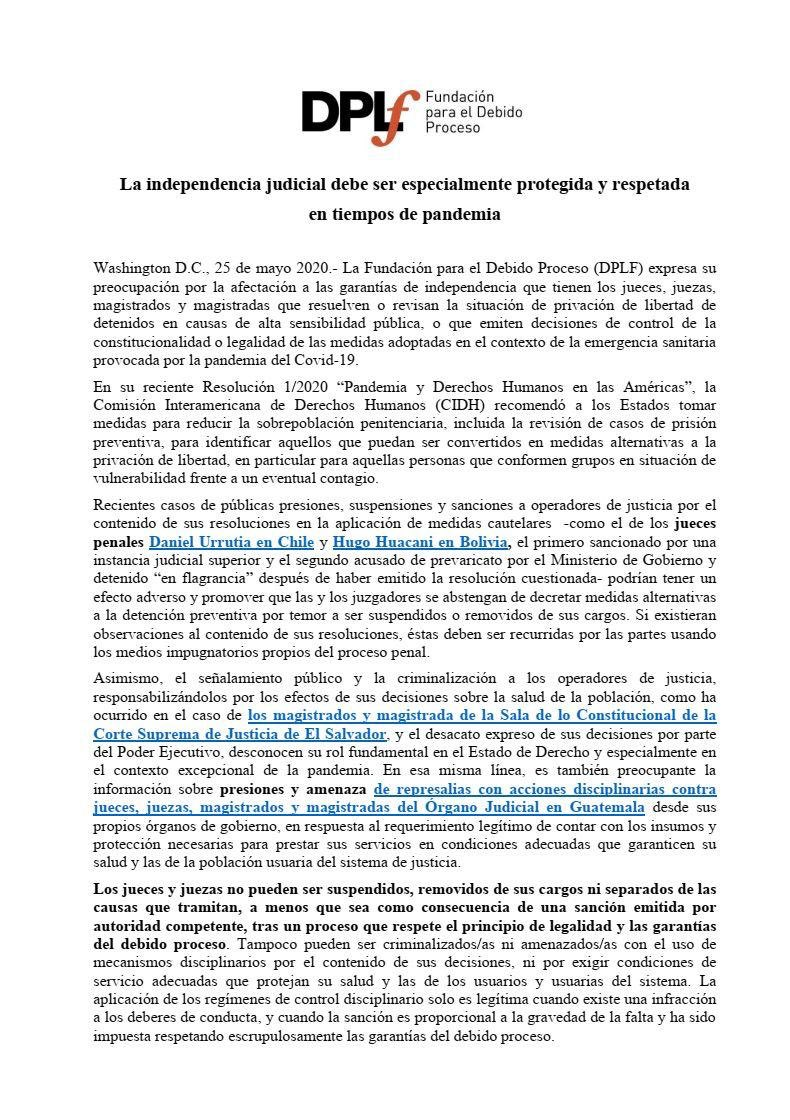 test Twitter Media - La Fundación para el Debido Proceso manifestó su preocupación por las presiones y amenazas que han recibido jueces en Guatemala, esto en el marco de la pandemia del COVID-19. https://t.co/hkTrePWS3f
