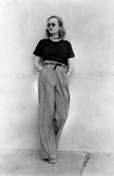Everything is terrible. Please take a moment to enjoy this photo of Joan Bennett in trousers and sunglasses. https://t.co/0V5yjVZiHP