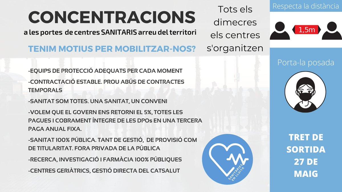 Convoquem concentracions arreu del territori i fem una crida a la participació de totes les treballadores de la salut i a les seves usuàries, en el seu sentit més ampli: residències de gent gran, transport sanitari, salut mental, atenció primària, hospitals, sociosanitaris... https://t.co/439ZzEZcWg