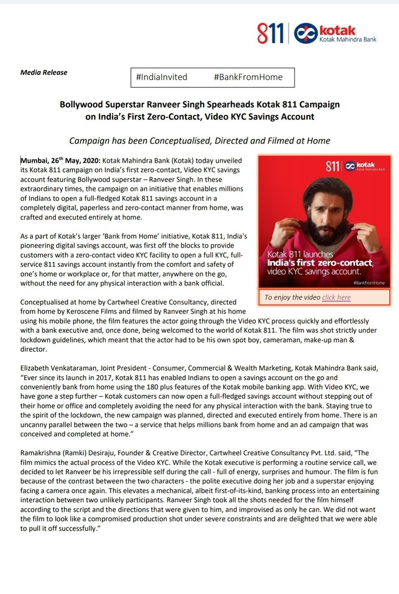 Bollywood Superstar Ranveer Singh Spearheads Kotak 811 Campaign on India's First Zero-Contact, Video KYC Savings Account. Campaign has been Conceptualised, Directed and Filmed at Home @KotakBankLtd @RanveerOfficial #BankFromHome #811VKYCLife