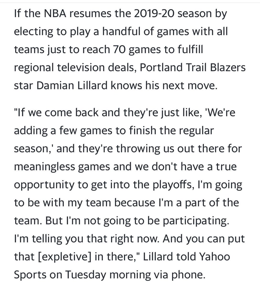 Dame puts on the record what, I'm sure, a lot of players are thinking to themselves. Not sure how the NBA properly addresses this in a way that's fair to the playoff teams: https://t.co/W5Pn7senC8 https://t.co/uXNZIDBqut