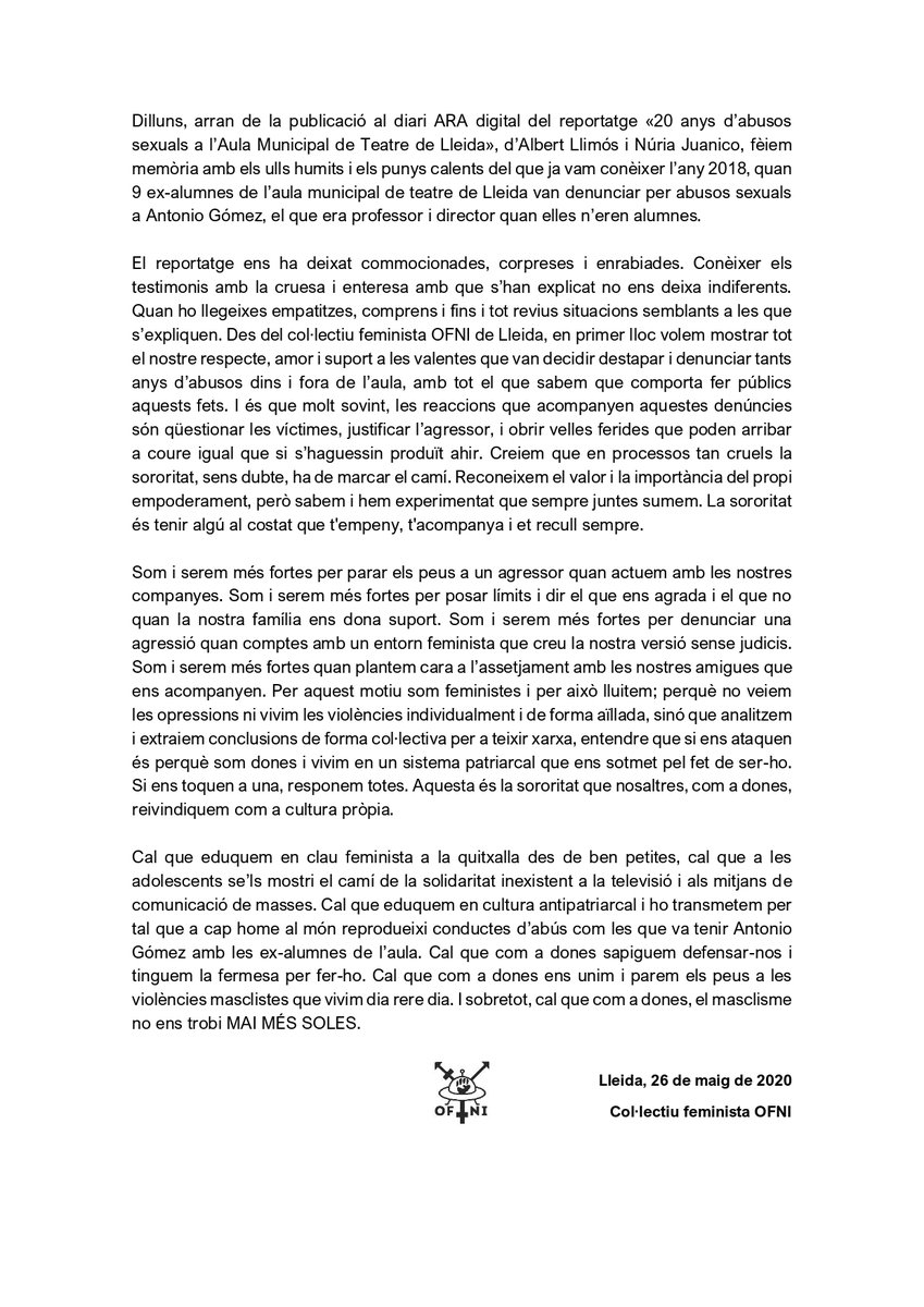 No podem restar impassibles davant els fets ocorreguts a l'Aula de Teatre de Lleida durant els últims 20 anys, i que s'han fet públics arran del següent reportatge: https://t.co/mm76XvNpPu  Tot el nostre suport a les víctimes. DESTRUÏM JUNTES EL PATRIARCAT! https://t.co/zCiliHOa3z