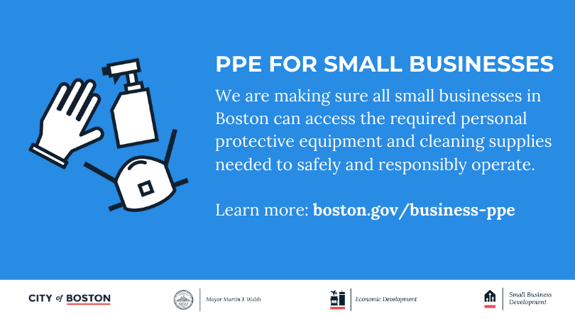 To help small businesses in Boston safely and responsibly operate during #COVID19, @EconDevBoston has details on how they can access required personal protective gear and cleaning supplies: http://boston.gov/business-ppepic.twitter.com/Etol7aJC7C