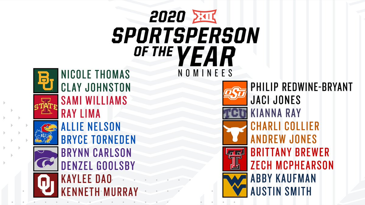 ‼️ Announcing the nominees for the 2️⃣0️⃣2️⃣0️⃣ Male & Female Sportsperson of the Year‼️🏆 @BaylorAthletics @ISUAthletics @KUAthletics @kstatesports @OU_Athletics @OSUAthletics @TCU_Athletics @TexasLonghorns @TechAthletics @WVUSports ➡️ big12.us/2M0LhDm