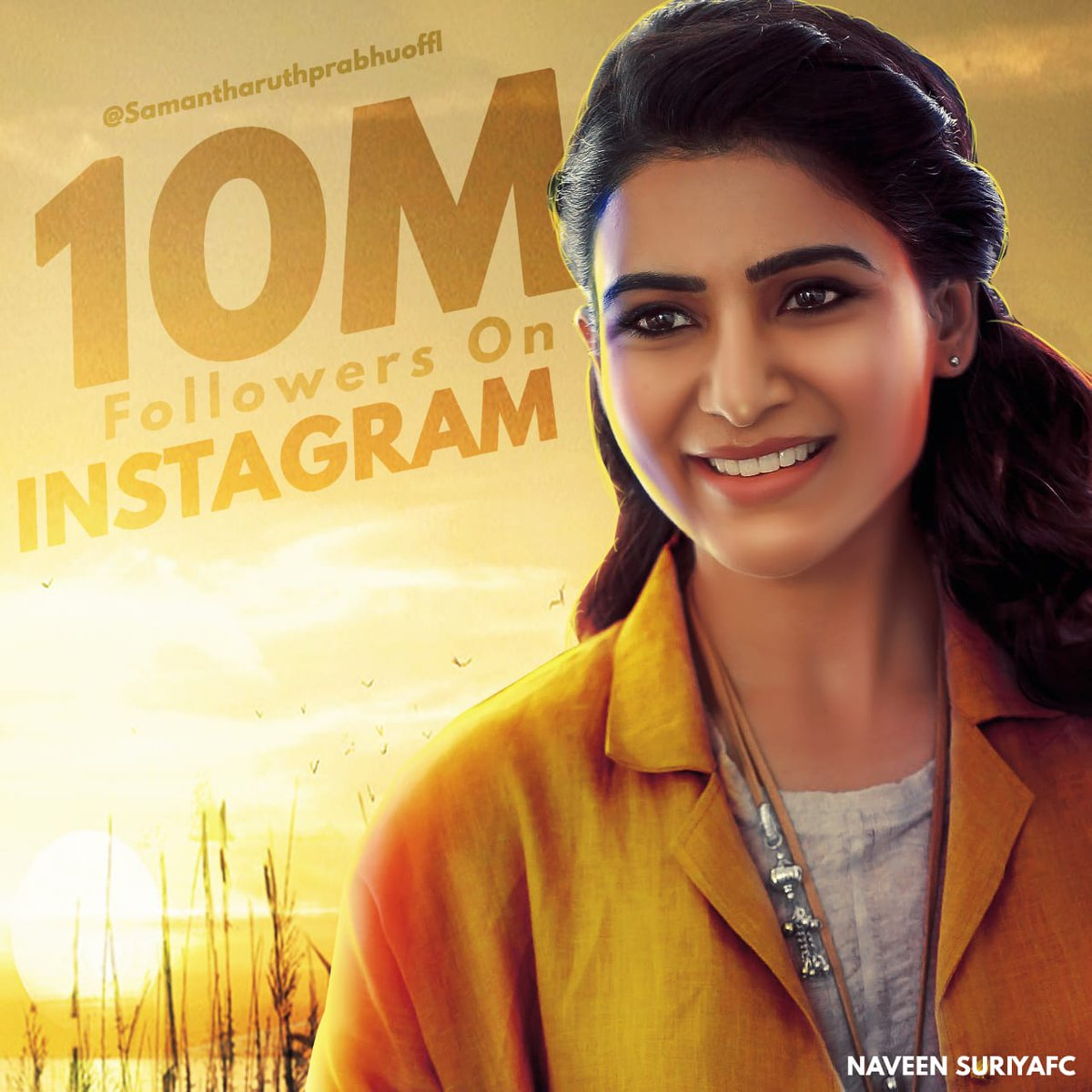 #10MForSamanthaOnInstagram   Congratulations @Samanthaprabhu2 for reaching 10 Million followers on #Instagram pic.twitter.com/Q08RFeVlMw
