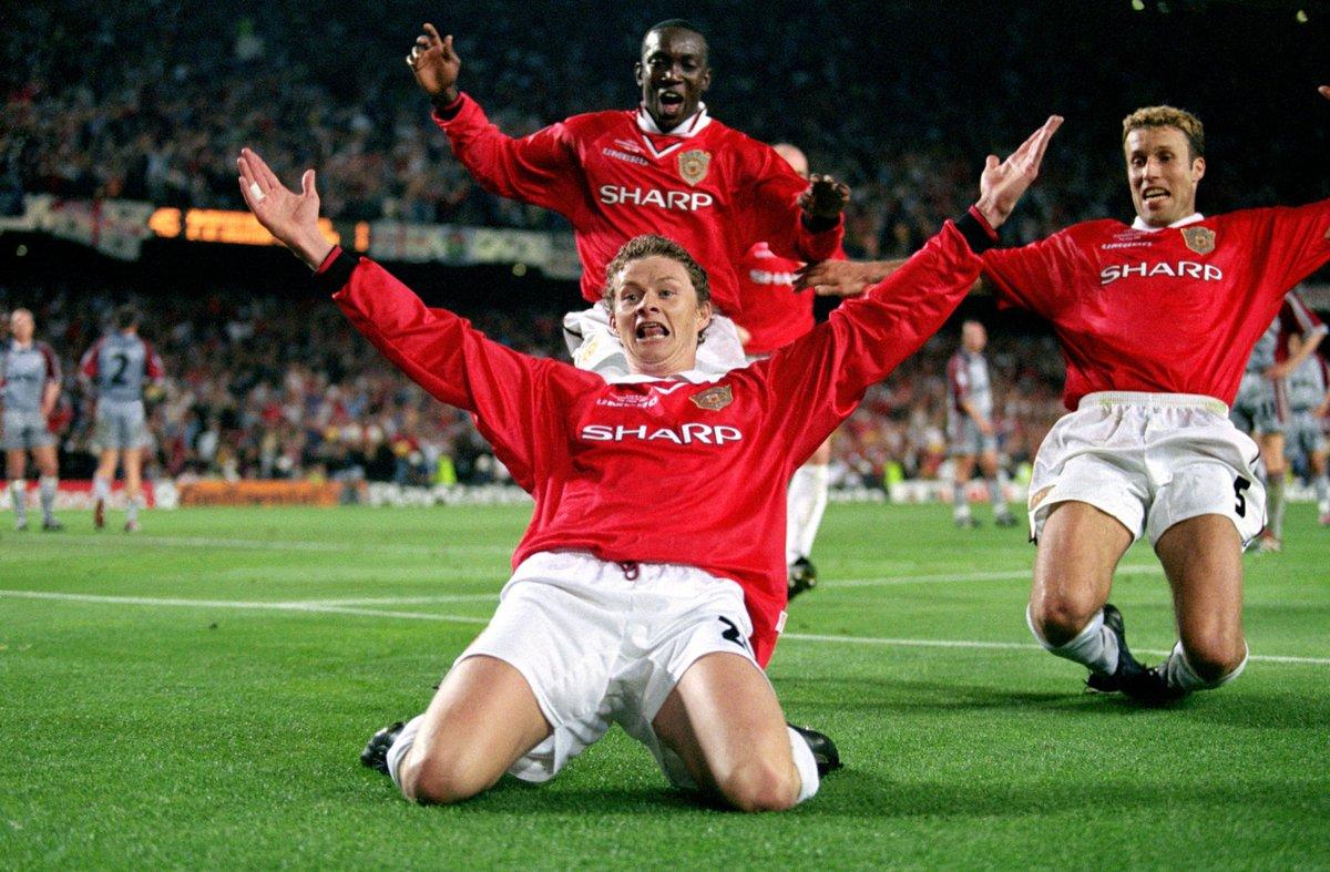 El 26 de Mayo de 1999 se daba la remontada más épica en la historia de la Champions.  Se cumplen 21 años de nuestra hazaña en Camp Nou  #MUFC #GGMU https://t.co/8J8A26mUB2
