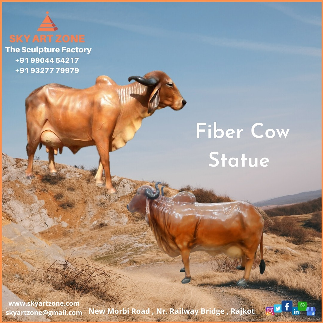 Fiber Cow Statue Sky Art Zone #Sculpture #wallmural #skyartzone #Humanstatue #Godstatue #claymodeling #homedecor #3ddesign #artzone #handmade #parkstatue #animalstatue #statue #antiquestatue #modernart #fibercow #animalcowstatue