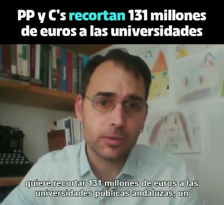 El Gobierno andaluz quiere recortar 131 millones a las universidades andaluzas. La receta de la derecha: aprovechar la crisis económica para recortar en lo público. Esto es un despropósito. La universidad pública debe jugar un papel fundamental en la reconstrucción de Andalucía.