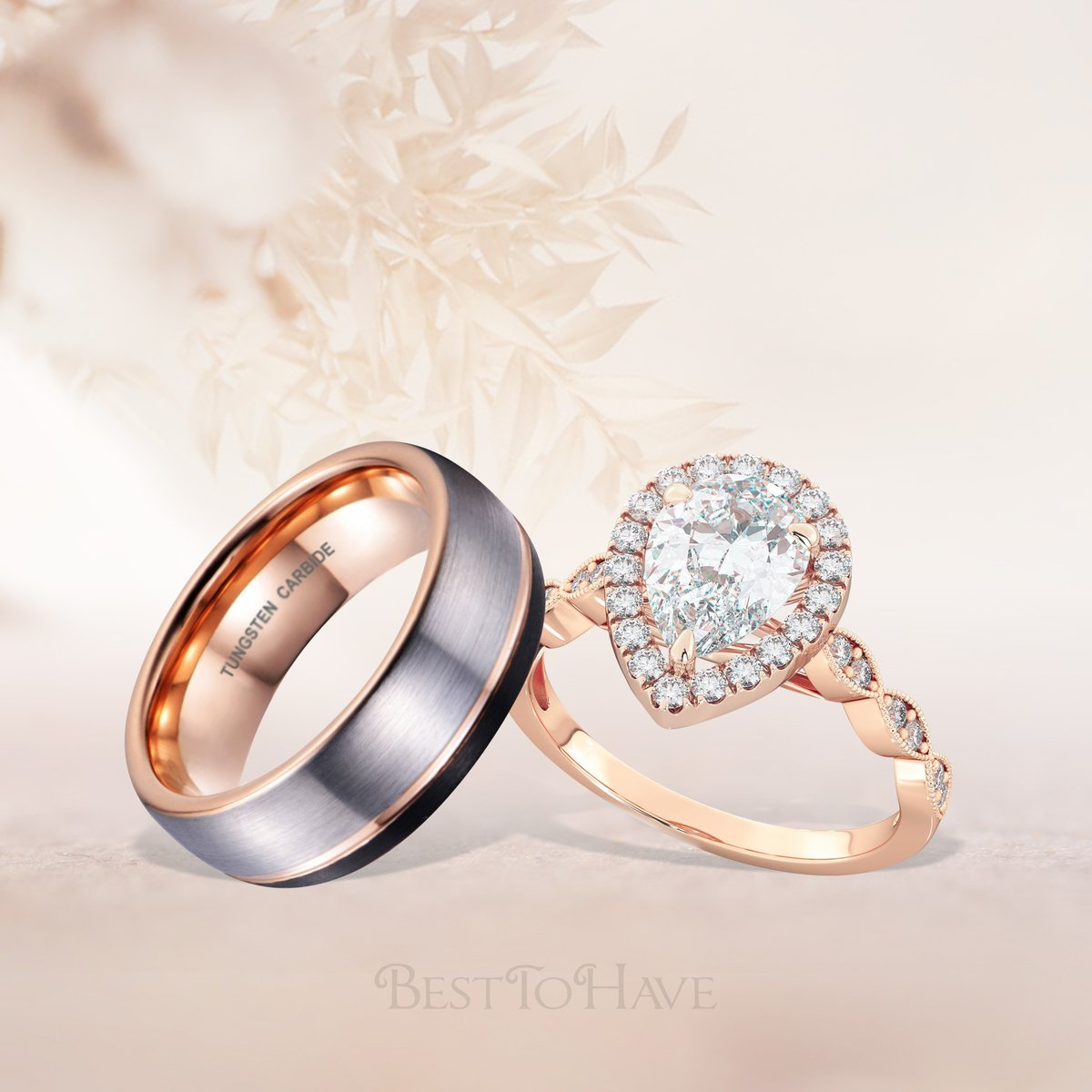 Black & rose gold tone tungsten ring Code: 444 From £24.99 & Rose gold sterling silver ring with pear cut CZ Code: 292 £22.99 Shop more:  #besttohave #besttohavejewelry #besttohaverings #hisandhers #matchingrings #wedding #engagement #weddingrings