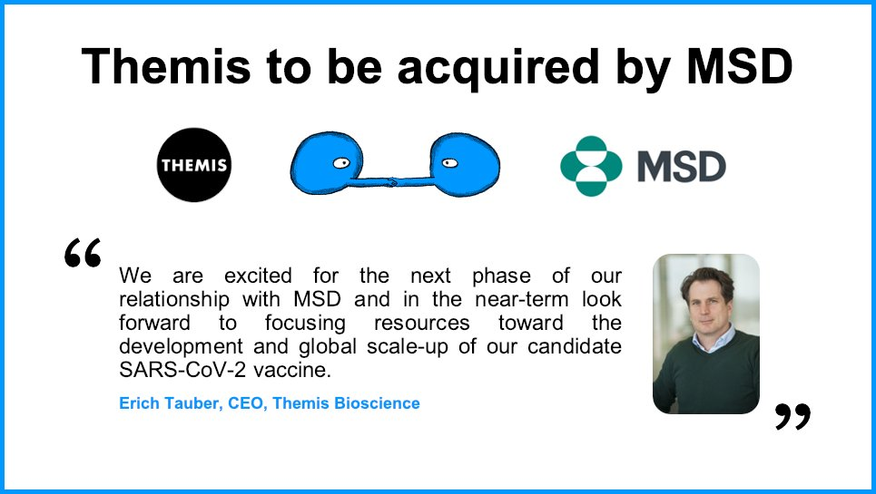Big #Congrats to our client, @Themis_Bio on its #acquisition by MSD. MSD will apply its #VaccineDevelopment capabilities to the SARS-CoV-2 vaccine program originated by @institutpasteur & Themis. #COVID19