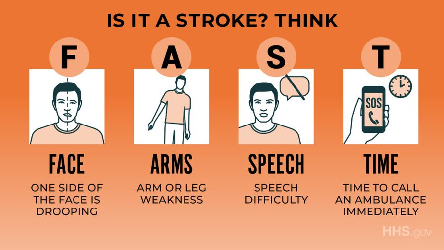 #DYK the signs of a stroke? Think F.A.S.T.! #StrokeAwarenessMonth