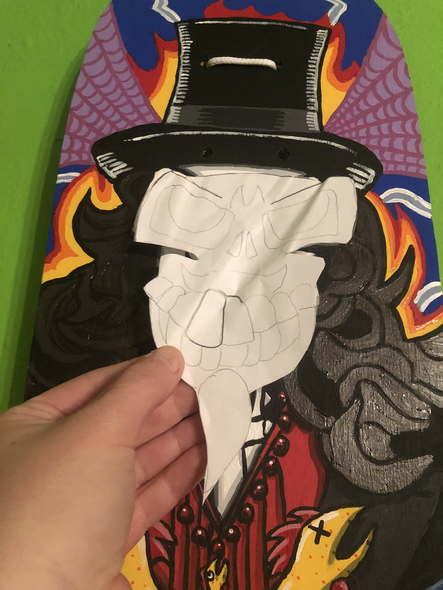 """""""Peek-a-boo!""""  Not many know this but I made a pattern from the first #Svengoolie deck's skull to have an easier time with the second.  Will use it for another project soon.  Stay tuned... <br>http://pic.twitter.com/xJvnwpefMh"""
