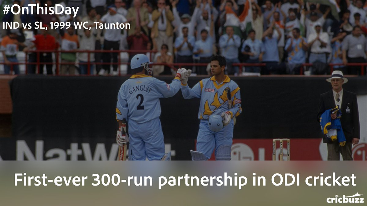 #OnThisDay in the 1999 World Cup   Sourav Ganguly - 183 (158) Rahul Dravid - 145 (129) Partnership - 318 (269)  Tornado in Taunton -  https://www. cricbuzz.com/live-cricket-s corecard/5630/ind-vs-sl-21st-match-icc-world-cup-1999   … <br>http://pic.twitter.com/SICZILTFQ8