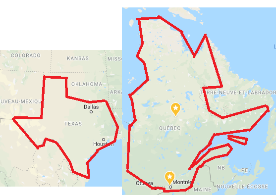 Texas: OUR STATE IS SO BIG! NOTHING COMPARES TO IT! Quebec: Thats cute :) (and yes, its to scale)