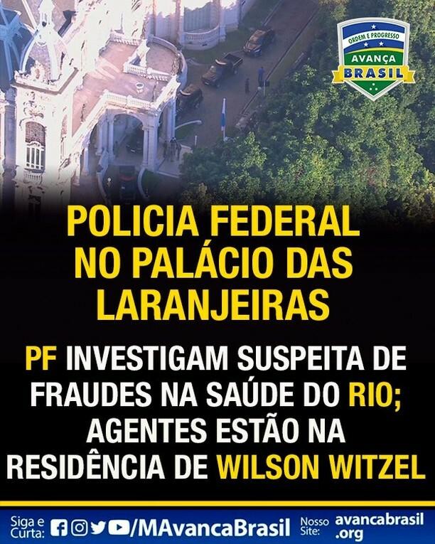 POLICIA FEDERAL NO PALÁCIO DAS ##laranjeiras  PF INVESTIGAM SUSPEITA DE FRAUDES NA SAÚDE DO RIO; AGENTES ESTÃO NA RESIDÊNCIA DE WILSON #WITZEL https://instagr.am/p/CApfTapgOFY/pic.twitter.com/sNx2hg981z
