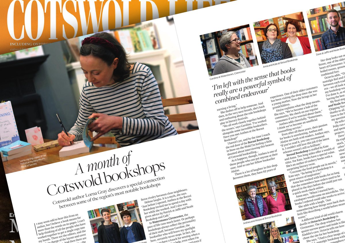 So happy to see my tour of Cotswold bookshops in this months @cotswoldlife I set out to look at the differences that make each shop unique. I wasn't expecting to meet nine extraordinary booksellers, whose lives with books are as surprising and heart-warming as any novel